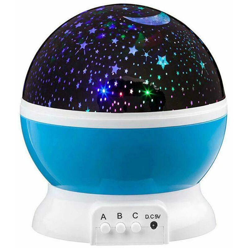 PERLE RARE Musique et veilleuse lumineuse pour enfants Veilleuse LED en forme d'étoile, projecteur rotatif + minuterie + télécommande + 8 couleurs,