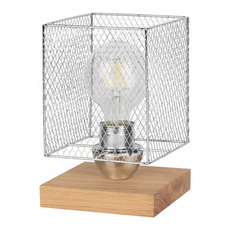 PARIS PRIX Lampe à Poser Design cage 21cm Chêne Huilé - Paris Prix