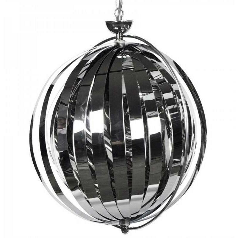 PARIS PRIX Lampe Suspension sphère 40cm Chrome - Paris Prix
