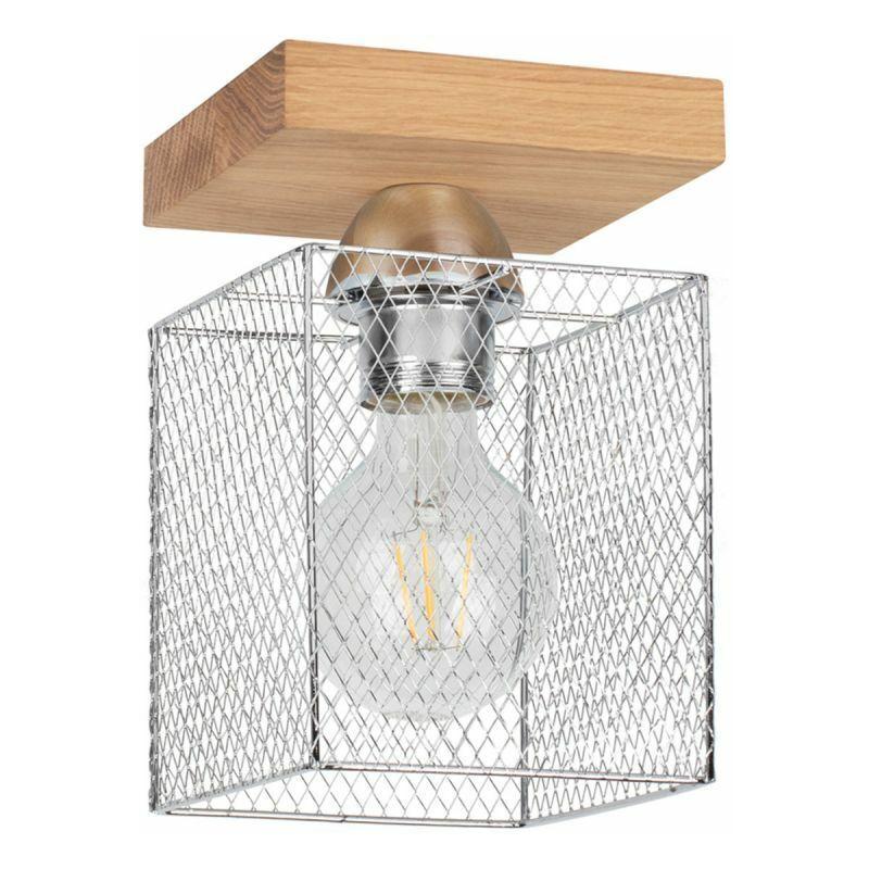 PARIS PRIX Plafonnier Design cage 21cm Chêne Huilé - Paris Prix