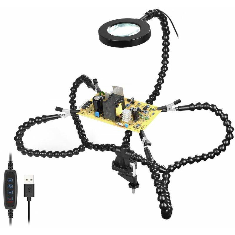 DRILLPRO Pince de bureau PCB support à souder 3X loupe 3 couleurs lampe éclairée soudure aide à la main bras Flexible à souder troisième main outil