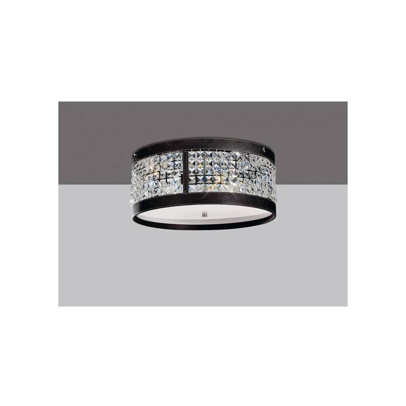 DIYAS Plafonnier Celsa 4 Ampoules chrome poli/marron foncé Faux cuir/cristal