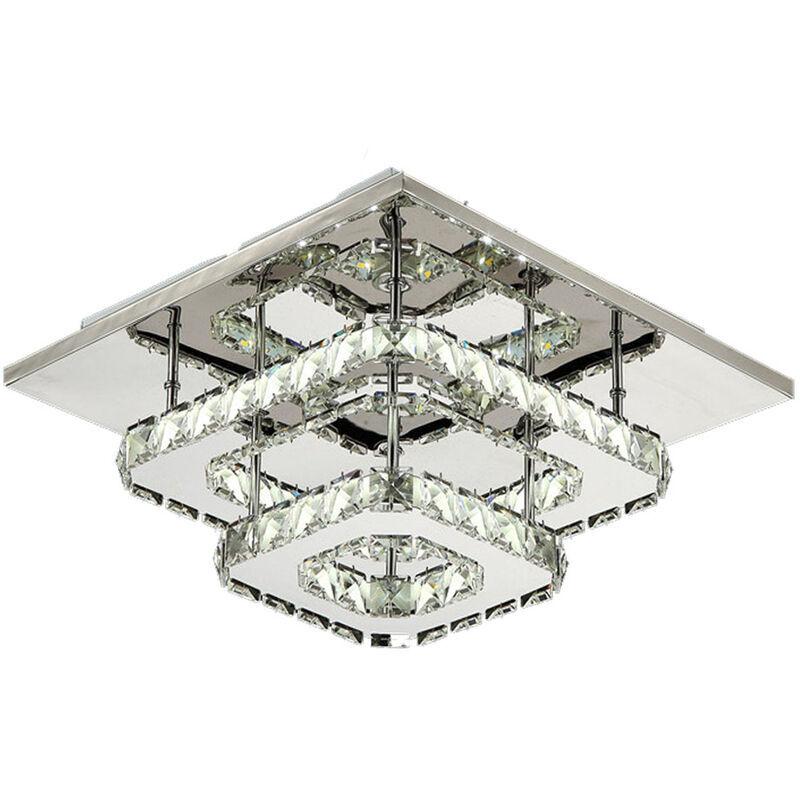 Axhup - Plafonnier Lampe Cristal Lampe de Plafond Acier Inoxydable LED Miroir 24W Lustre Moderne en Cristal pour Salon Chambre à Coucher