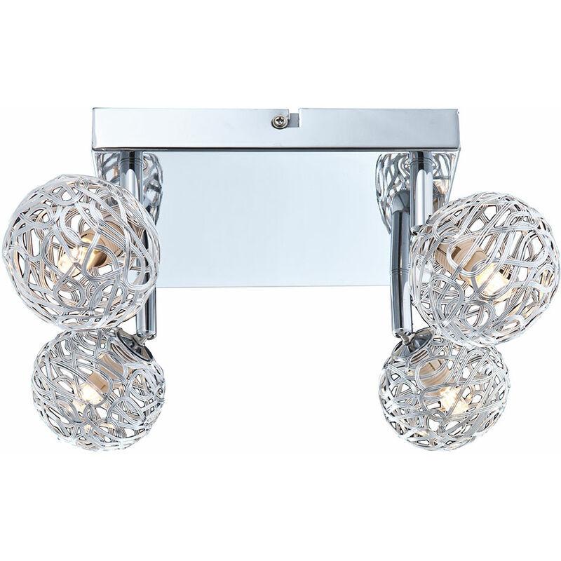 ETC-SHOP Plafonnier lampe de chambre à coucher Spot boule spot orientable dans l'ensemble avec 4x ampoules LED