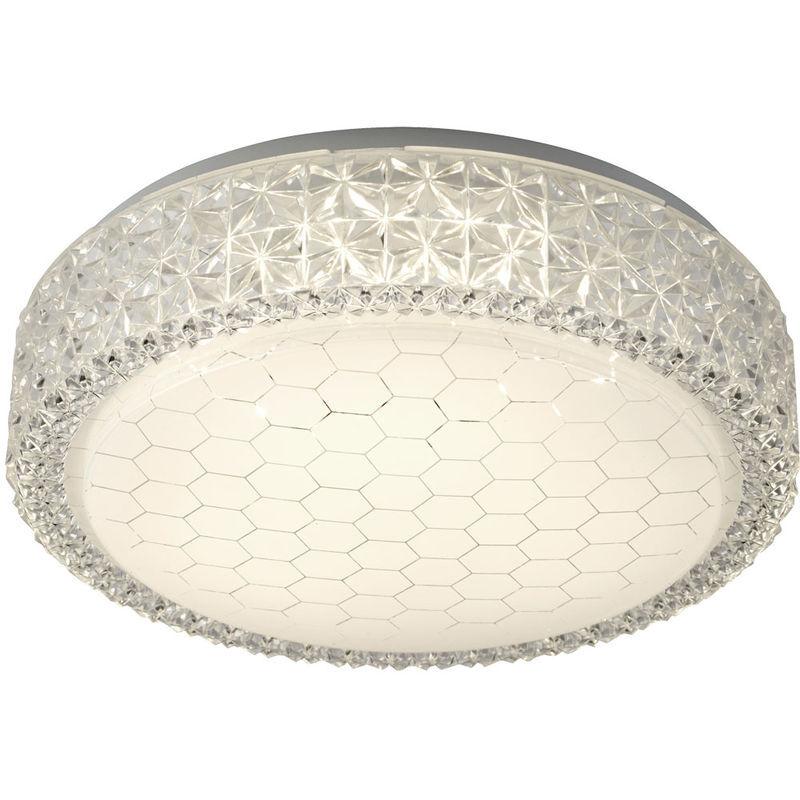 SEARCHLIGHT Plafonnier LED salon salle à manger effet cristal motif nid d'abeille blanc clair Searchlight 5750-28