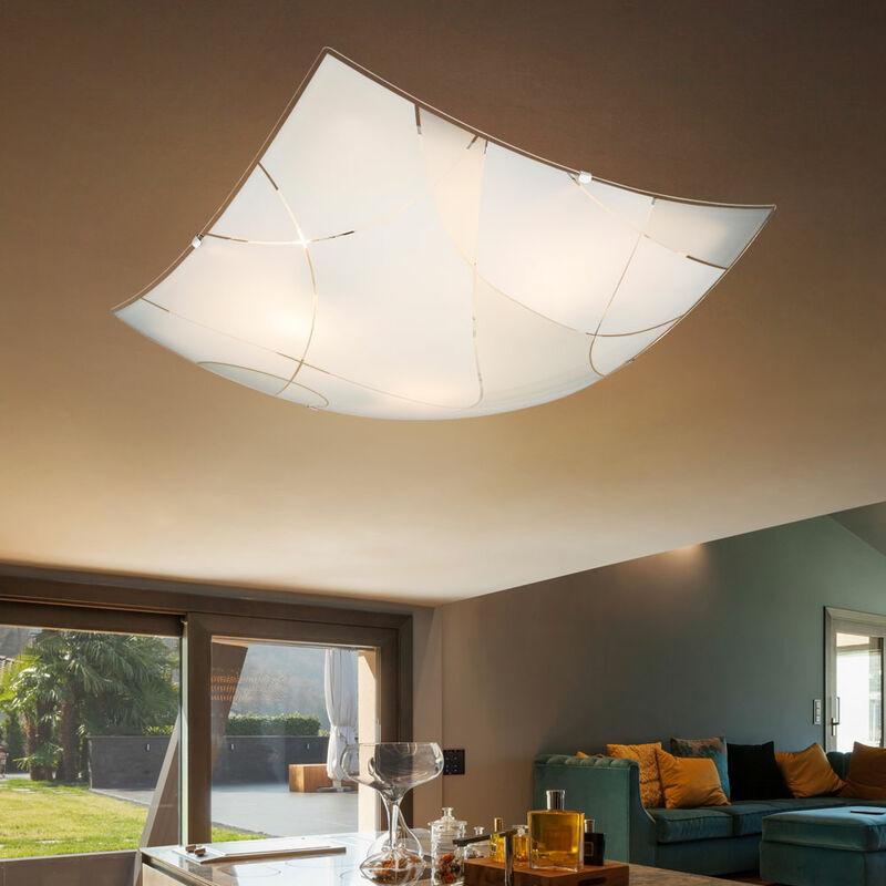 Globo Plafonnier luminaire métal chrome blanc verre éclairage décor lignes salon