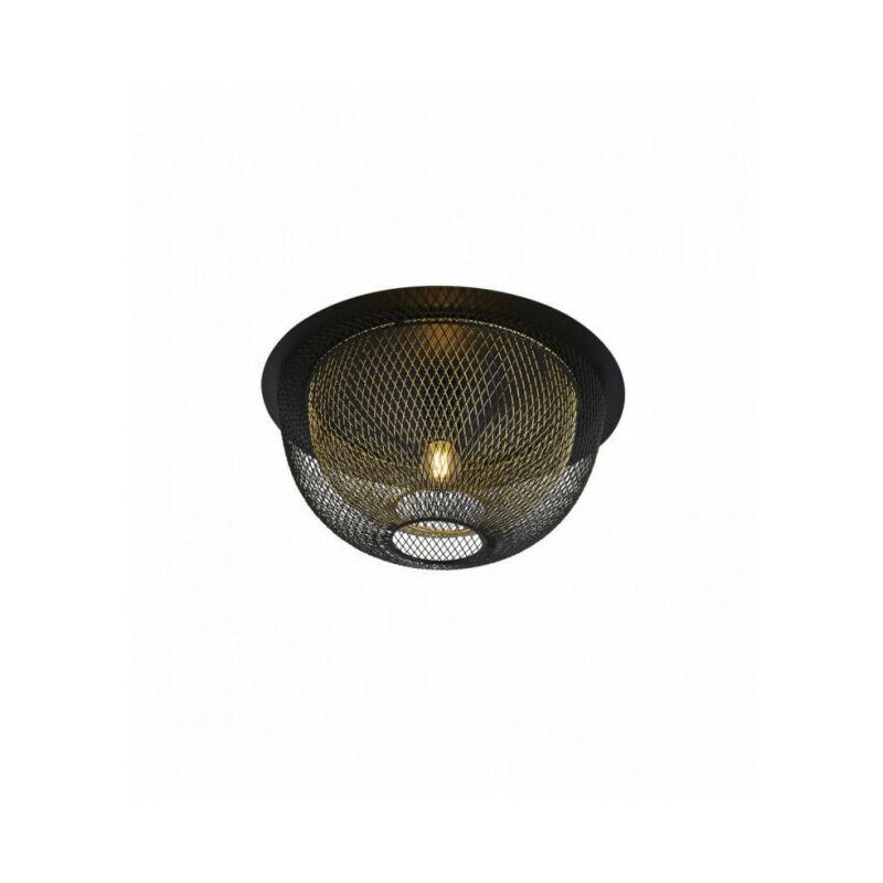 SEARCHLIGHT Plafonnier nid d'abeille 1 ampoule en maille filet - extérieur noir avec intérieur or