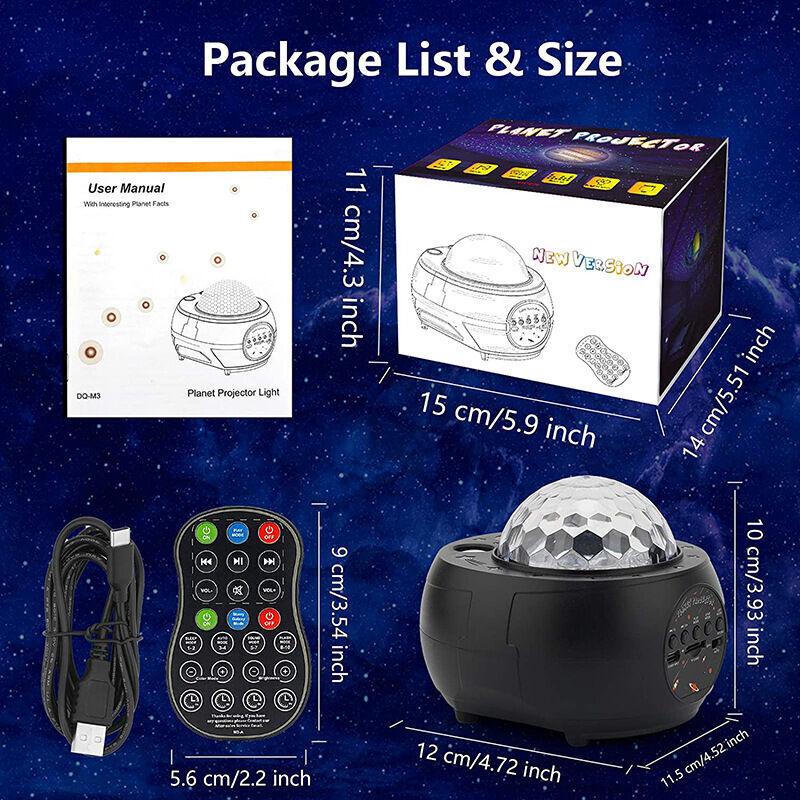 Dontodent - Projecteur de ciel étoilé à LED, projecteur de planète, 3 en 1 Ocean Wave Sky Light Projecteur, lumière de nuit, 15 modes de couleur et