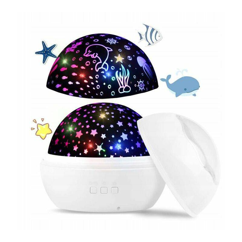 PERLE RARE Projecteur de ciel étoilé à LED, veilleuse pour bébé, lampe de projection 2 en 1 du monde de l'océan avec câble USB, changement de 8 couleurs pour la