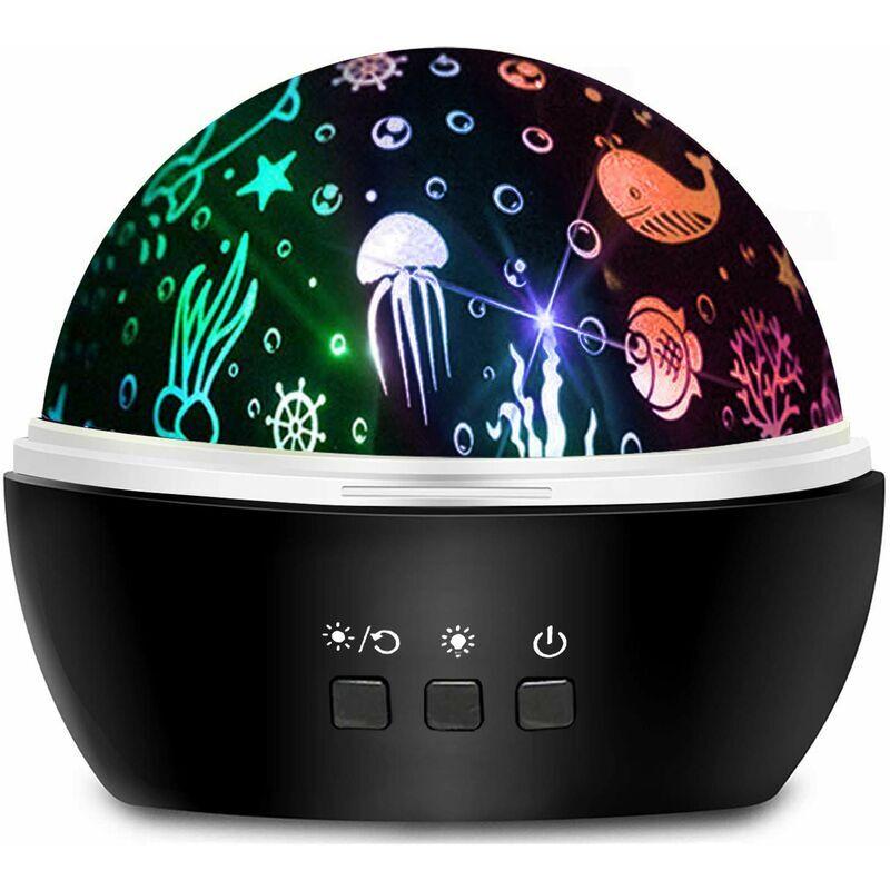 ECHOO Projecteur Star Night Light, Projecteur de lumière rotatif 8 couleurs pour bébé avec thème étoile et océan pour chambre d'enfant - Noir