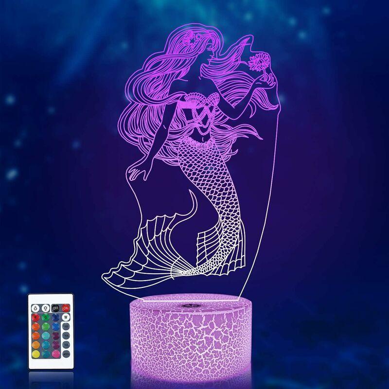 ECHOO Sirène 3D Illusion Veilleuse, Hologramme Lampe Optique 16 Couleurs avec Télécommande Changement, LED Chevet Veilleuse Enfants Chambre Décor Meilleur