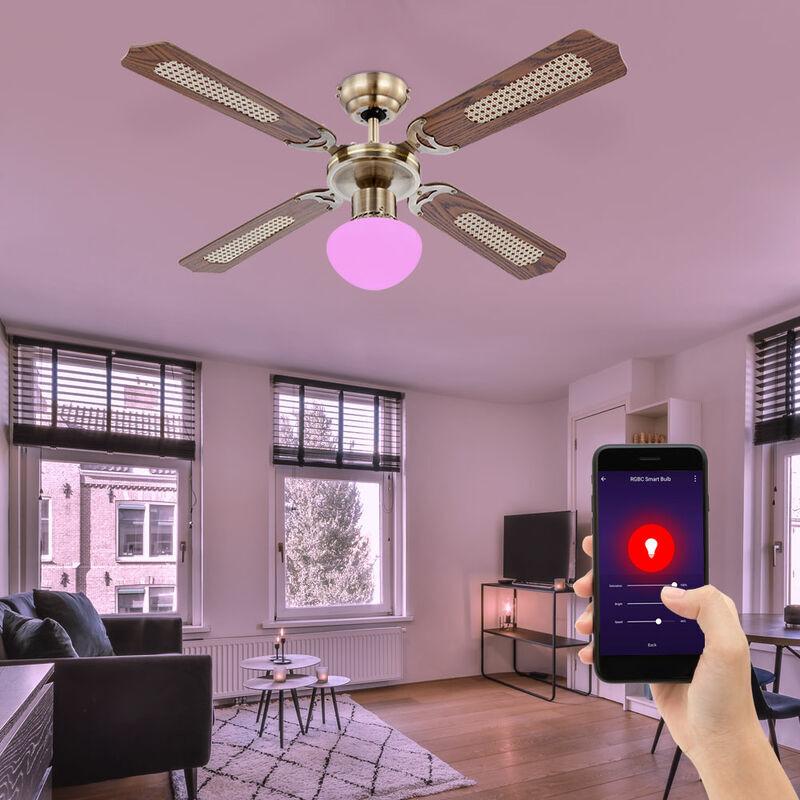 ETC-SHOP Smart Home RGB LED ventilateur de plafond app commande vocale avant / arrière refroidisseur d'air à 3 niveaux chêne