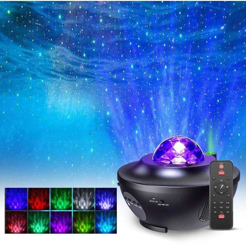 SOEKAVIA Projecteur LED Lampe de ciel étoilé, Veilleuse de projecteur de ciel étoilé avec effet étoile étoilé / vague d'eau avec 21 modes d'éclairage et