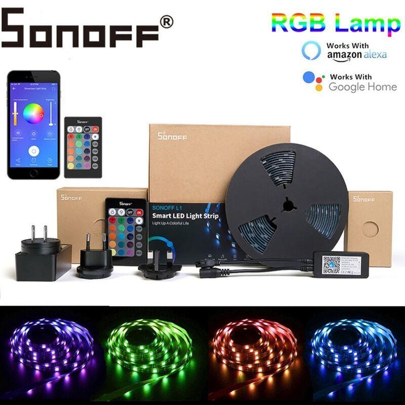 MANTA SONOFF L1 Dimmable IP65 2M 5M Smart WiFi RGB LED Kit de lumière de bande fonctionne avec Amazon Alexa Google Home 5M Ensemble de bande lumineuse à
