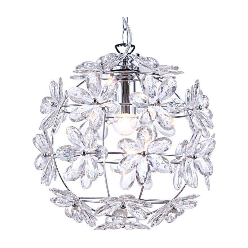 ETC-SHOP Plafonnier design suspension lampe pendule salon/chambre à coucher chrome rond dans un ensemble comprenant des ampoules LED