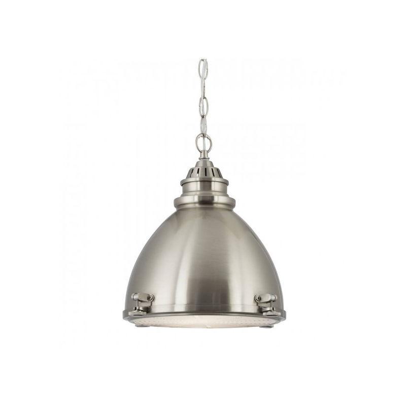 Searchlight - Suspension industrielle, suspension en forme de dôme, dôme en nickel satiné à 1 flamme avec diffuseur en verre dépoli