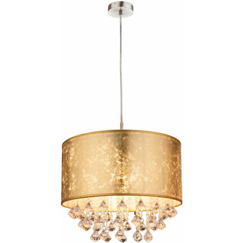 Etc-shop - Suspension textile or suspension cristaux clair salle à manger salon lampe pendule, optique feuille d'or, 1x E27, DxH 40 x 140 cm