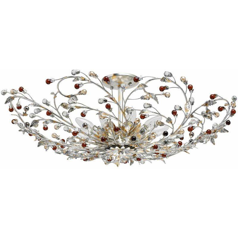 Chiaro - Flora Viola silver foil+gold foi metal transparent+brown+champagne glass 9*40W E14 298013309