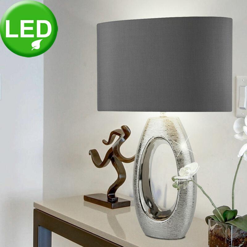ETC-SHOP Lampe de chevet en textile éclairage de la chambre à coucher / salon Lampe chromée dans un ensemble comprenant des ampoules LED