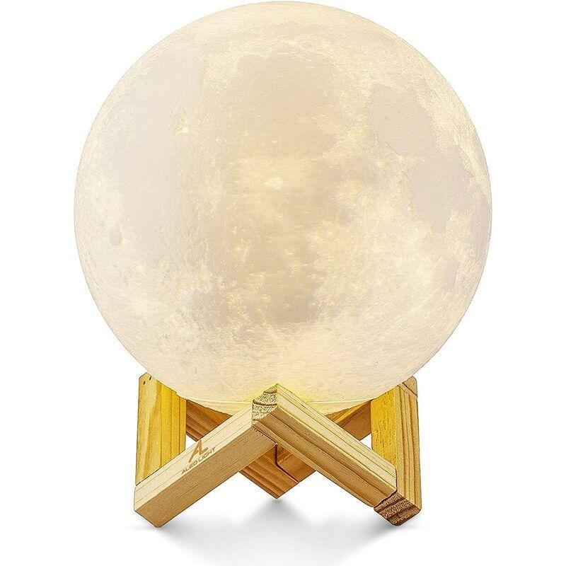 ECHOO Veilleuse 3D Dimmable, LUMIÈRE ALED 15cm LED Lampe Lune Tactile Lune Lumière Ciel Étoilé Lampe Bébé Lune Veilleuse USB Charge Lampe Lune Led Lampe