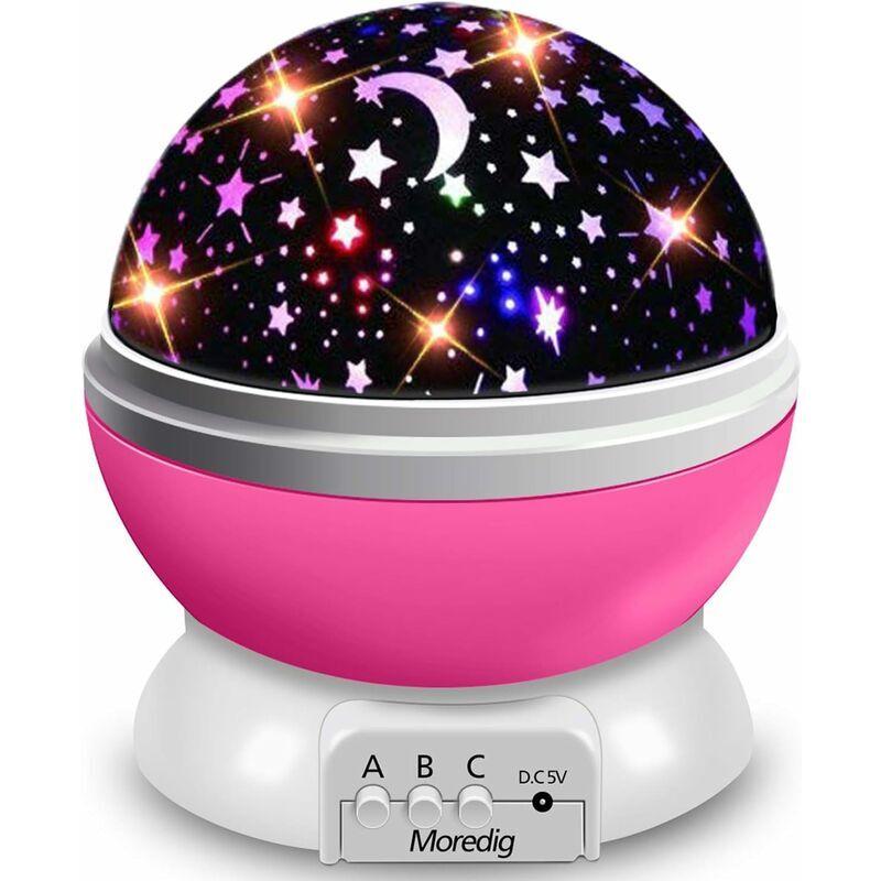 Aiducho - Veilleuse Enfant Etoile Projection Rotation à 360° Lampe Projecteur Lumière Plafond, Led Veilleuse Bébé 8 Modes de couleur, Cadeau pour