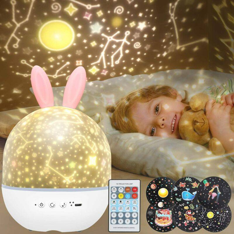 Abcrital - Veilleuse Enfant Étoiles Projecteur - Rotatif Starry Lampe Projection Lumière avec Musique 6 Films Minuteur 360° Rotation Galaxy Sky