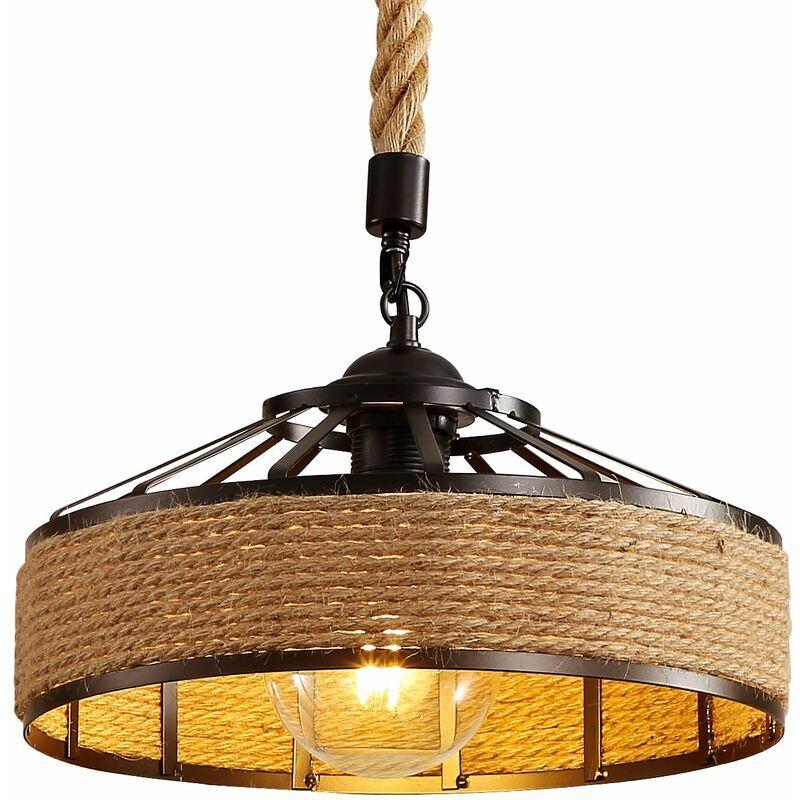 GOECO Vintage chanvre corde plafonnier industriel LED lustres rétro plafond lumières créatives pour Restaurant Bar café maison