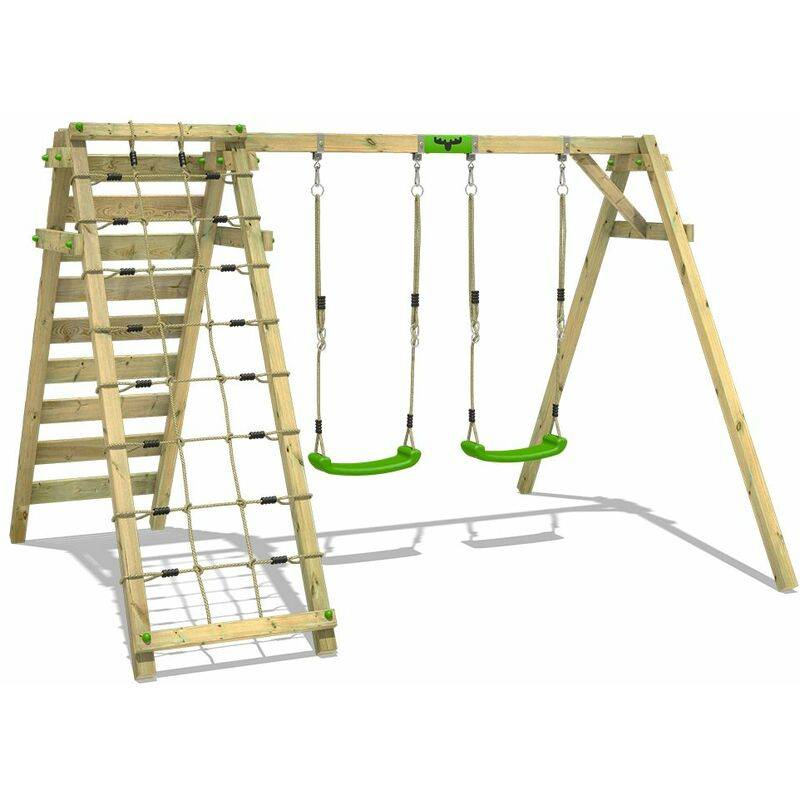FATMOOSE Portique balançoire Aire de jeux JollyJungle avec Portique bois pour enfants