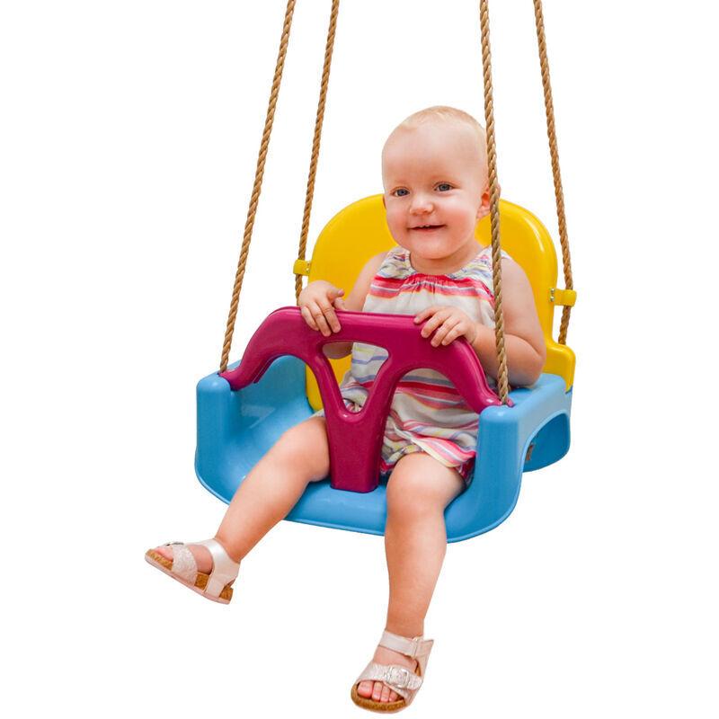No_brand - LittleTom 3-en-1 Balançoire 40x43x33cm pour petits enfants 6-72 mois Bleu-Jaune