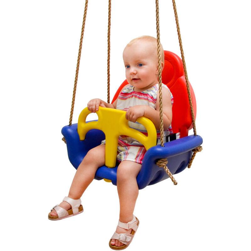 LittleTom 3-en-1 Balançoire 49x48x34cm pour petits enfants 6-72 mois Bleu-Rouge