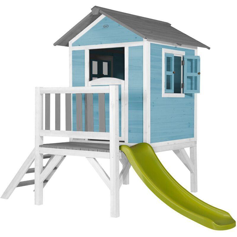 AXI Maison Enfant Beach Lodge XL en Bleu avec toboggan en vert clair   Maison de Jeux en bois FFC pour les enfants   Maisonnette / Cabane de jeu pour