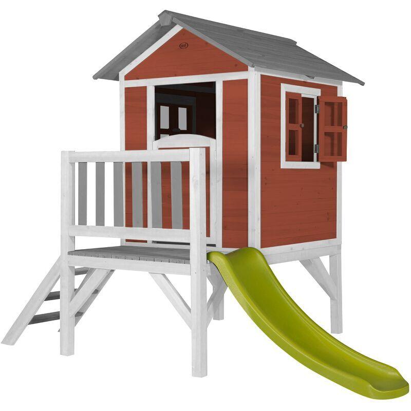 AXI Maison Enfant Beach Lodge XL en Rouge avec toboggan en vert clair   Maison de Jeux en bois FFC pour les enfants   Maisonnette / Cabane de jeu