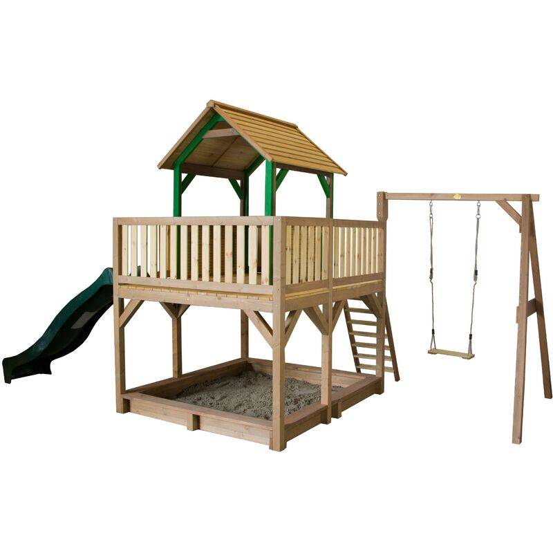 AXI Atka Maison Enfant avec Bac à Sable, Balançoire & Toboggan vert   Aire de Jeux pour l'extérieur en marron & vert   Maisonnette / Cabane de Jeu en
