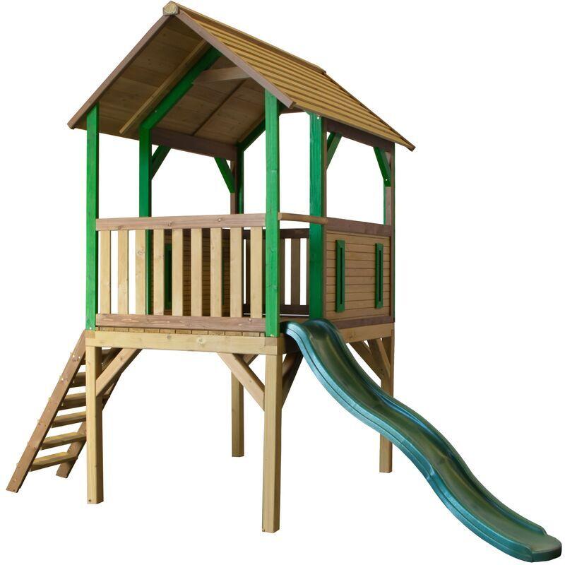 AXI Bogo Maison Enfant avec Toboggan vert   Aire de Jeux pour l'extérieur en marron & vert   Maisonnette / Cabane de Jeu en Bois FSC