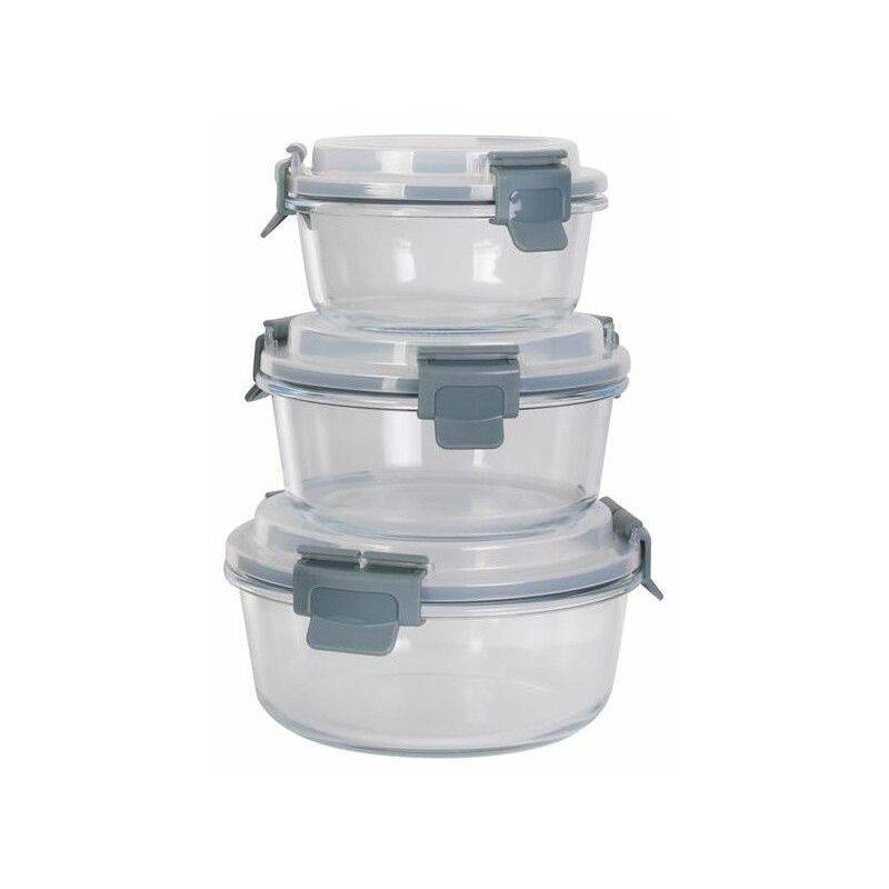 AC-DÉCO Lot de 3 boîtes de conservation rondes en verre - Tailles différentes - Livraison gratuite