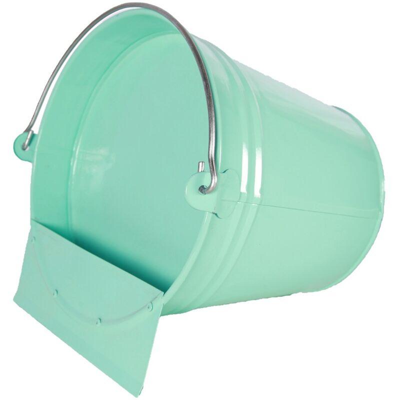 CHICK'A Abreuvoir seau métal finition epoxy vert d'eau 12L