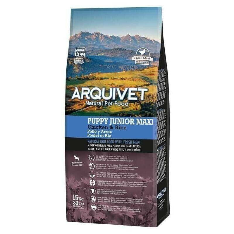 Arquivet Slu - ARQUIVET JUNIOR MAXI, pour chiots de grande race, poulet et riz 12 kg