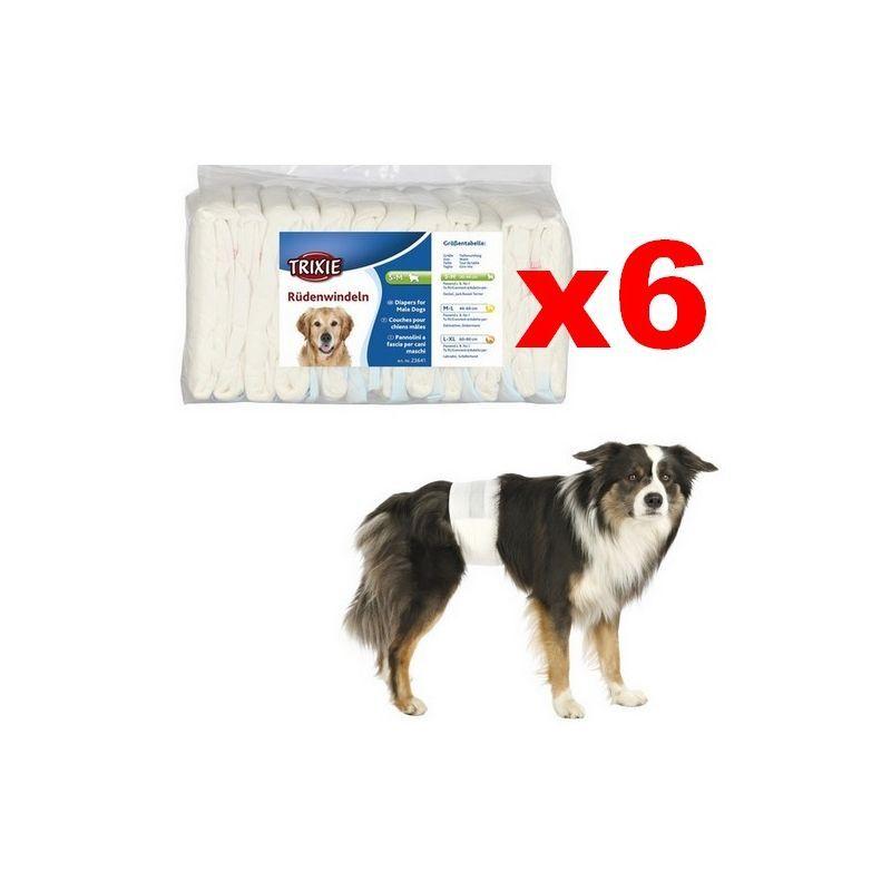 TRIXIE Couches pour chien mâles Désignation : Couche L-XL (Lot de 6 paquets)   Taille : 60 à 80 cm Trixie 23643B