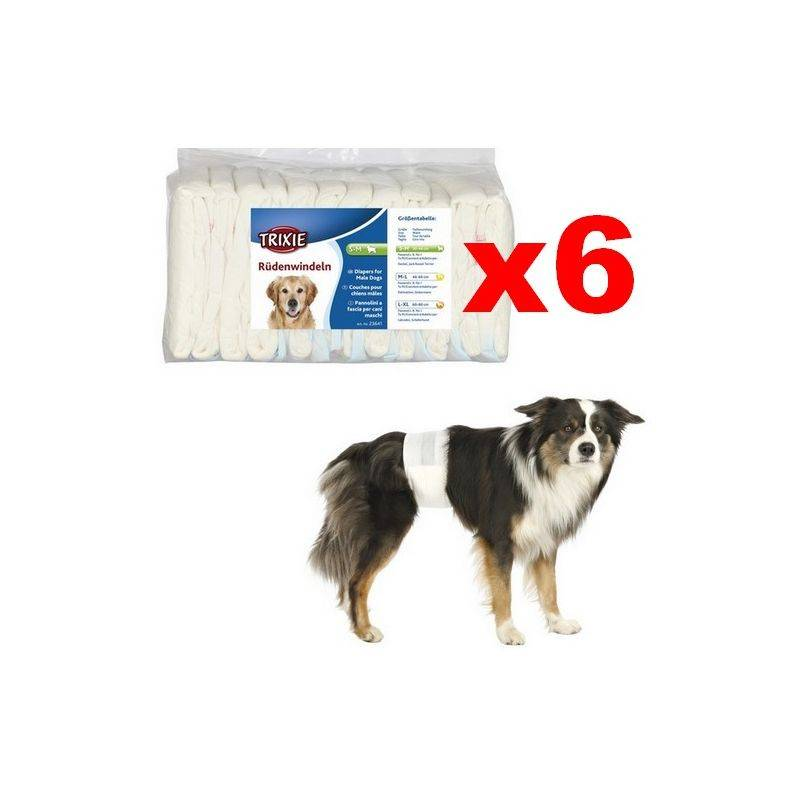 TRIXIE Couches pour chien mâles Désignation : Couche M-L (Lot de 6 paquets)   Taille : 46 à 60 cm Trixie 23642B