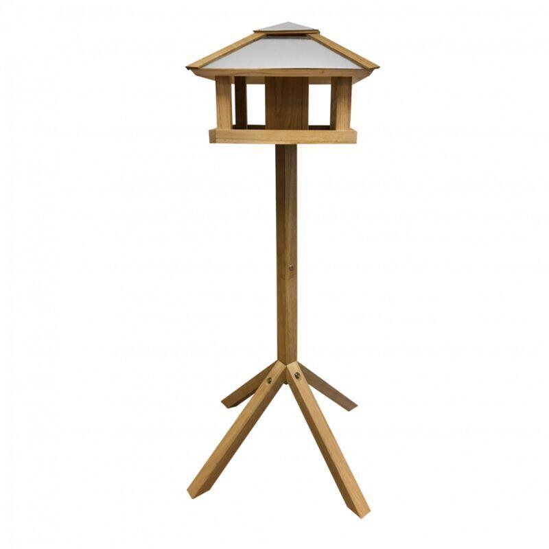 ESSCHERT DESIGN Mangeoire carrée avec silo - L 57 x l 57 x H 115 cm - Chêne - Livraison gratuite