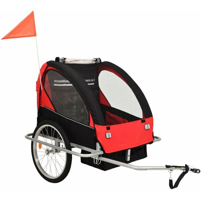 ROGAL remorque à vélo et poussette pour enfants 2-en-1 rouge et noir - Rogal