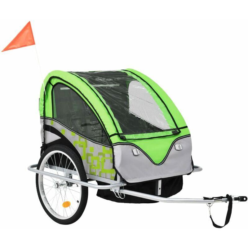 ROGAL remorque à vélo et poussette pour enfants 2-en-1 vert et gris - Rogal