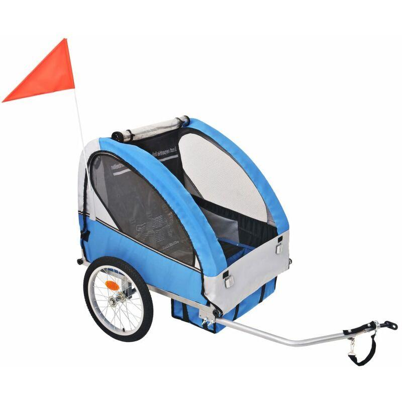 ROGAL remorque de vélo pour enfants gris et bleu 30 kg - Rogal