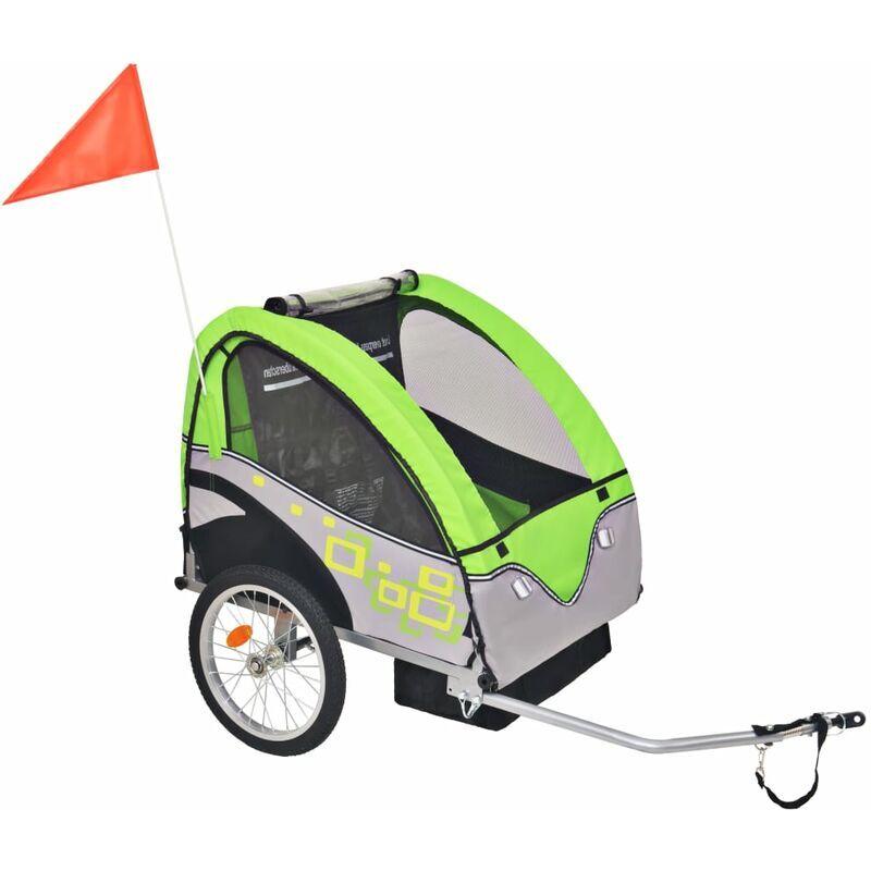 ROGAL remorque de vélo pour enfants gris et vert 30 kg - Rogal