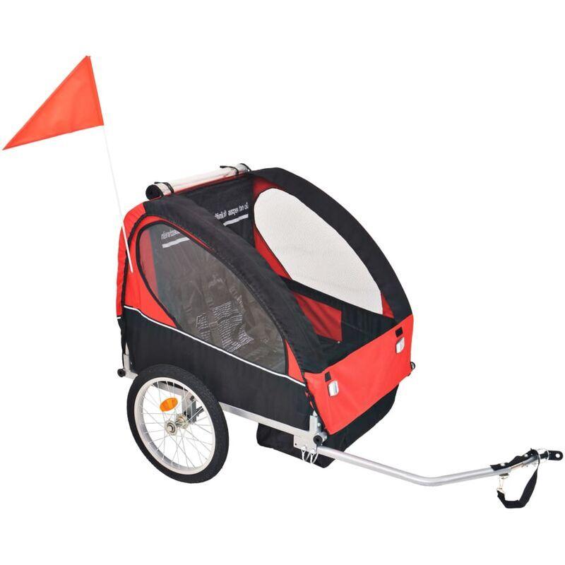 ROGAL remorque de vélo pour enfants rouge et noire 30 kg - Rogal