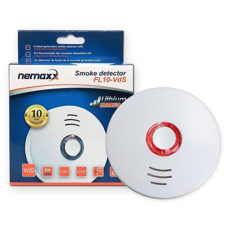 NEMAXX 1x FL10 VdS - VdS détecteurs de fumée - VdS EN14604 certifié avec batterie intégrée longue durée lithium - 10 ans la durabilité du produit - blanct
