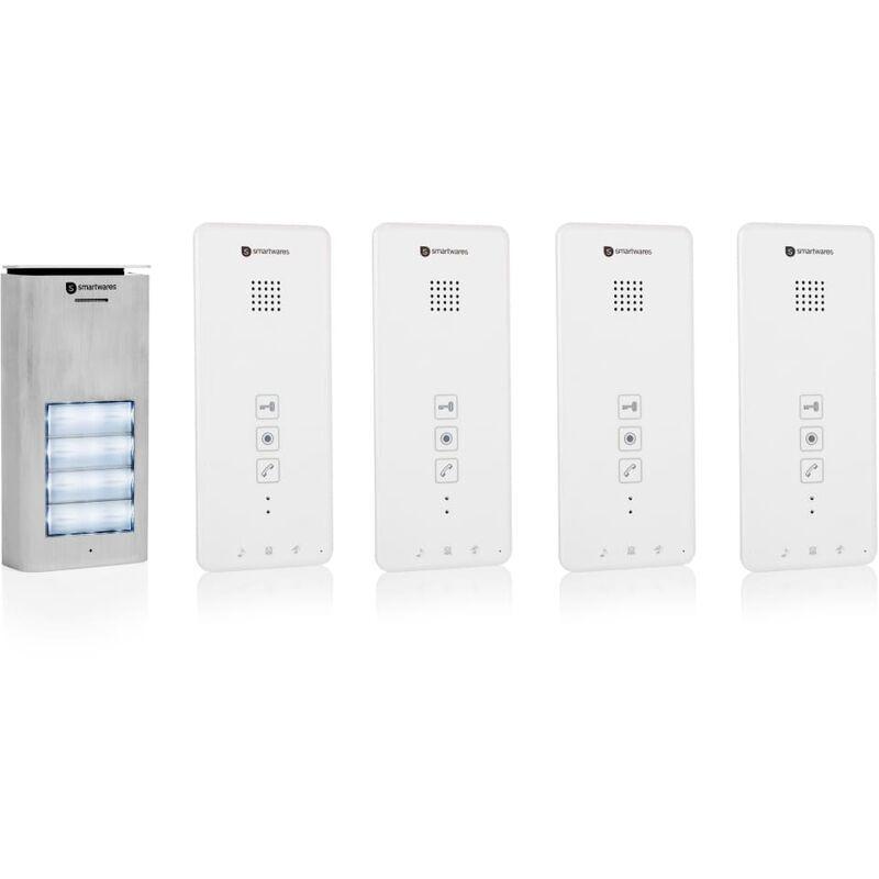 Smartwares Système d'interphone audio 4 appartements 20,5x8,6x2,1 cm - Smartwares