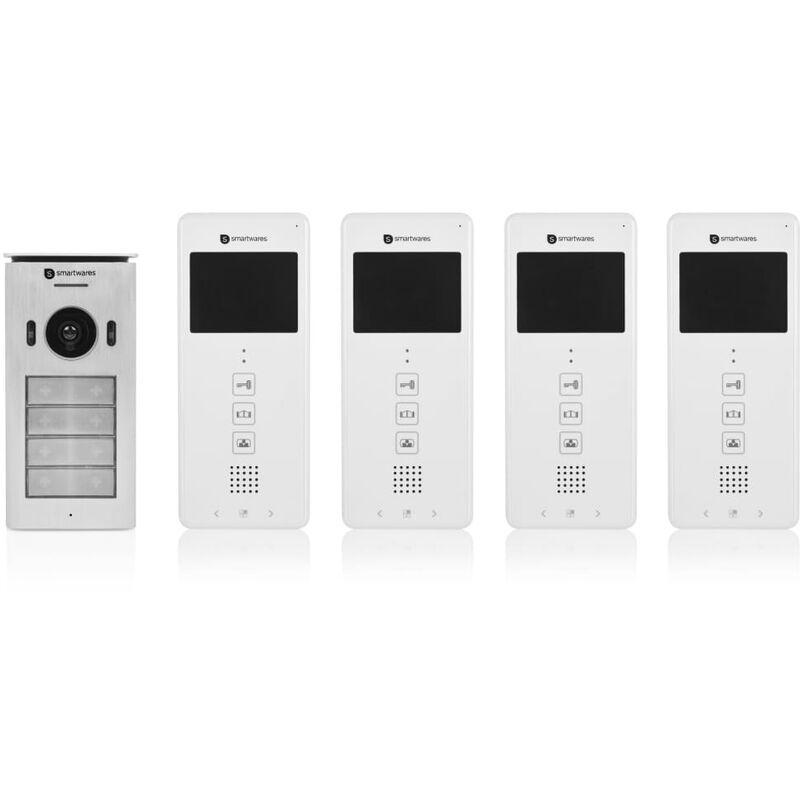 Smartwares Système d'interphone vidéo 4 appartements 20,5x8,6x2,1 cm