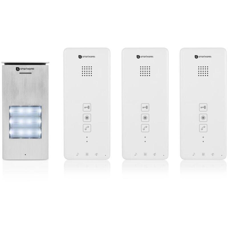 Smartwares Système d'interphone audio 3 appartements 20,5x8,6x2,1 cm