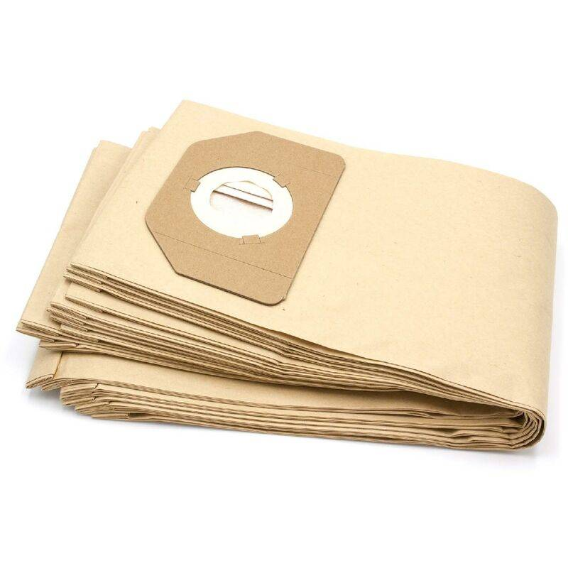 VHBW 10x sacs compatible avec Parkside (Lidl) PNTS1400/B1, PNTS1500, PNTS 30/4, PNTS 30/5, PNTS 30/6 S aspirateur - papier, marron - Vhbw